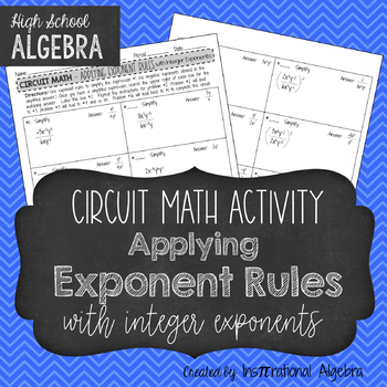 Simplifying Expressions with Exponents  - Circuit Math Activity