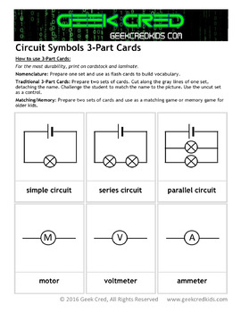 Circuit Symbols 3-Part Cards