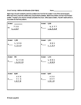 Circuit Training - 3rd Grade Multi-Digit Addition & Subtraction