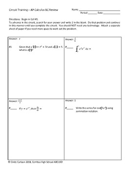Circuit Training - AP Calculus BC Review #3