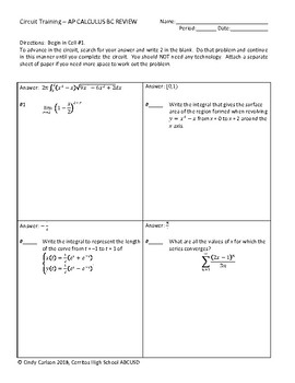 Ap Calculus Bc Review Worksheets Teaching Resources Tpt