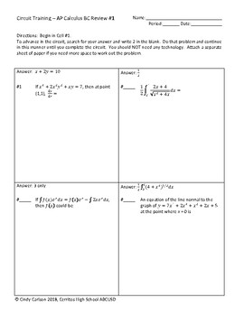 Circuit Training - AP Calculus BC Review BUNDLE