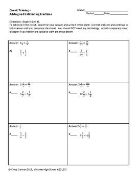 Circuit Training - Adding and Subtracting Fractions