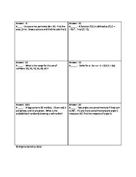 Circuit Training (Algebra Mixed Review III)