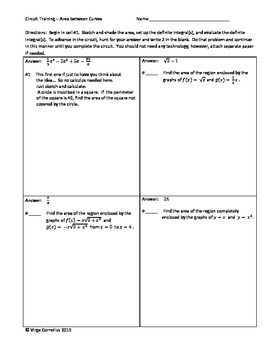 Circuit Training - Area Between Curves (Calculus)