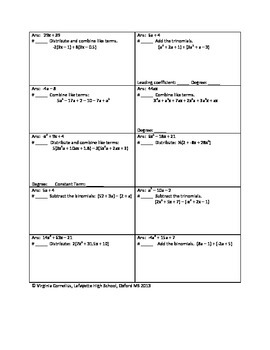 Circuit Training - Beginning Polynomials