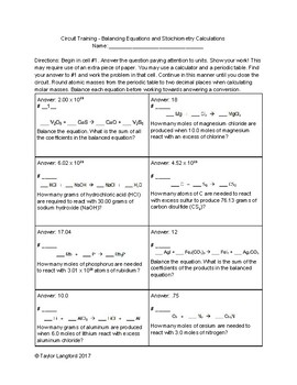 Circuit Training - Chemistry Balancing Equations and Stoichiometry Calculations