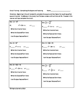Circuit Training - Complete the Square and Factoring