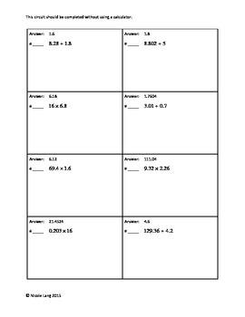 Circuit Training - Decimal Multiplication & Long Division Review