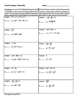 Circuit Training - Derivatives Bundle!  (calculus)