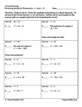 Circuit Training - Factoring Quadratic Trinomials (a = 1, c > 0)