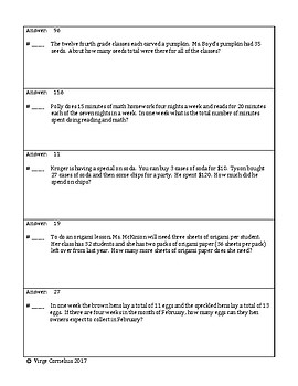 Circuit Training - Fourth Grade Word Problems (elementary)