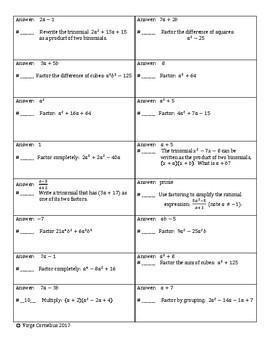 Circuit Training - Intermediate Level Factoring (algebra 2)