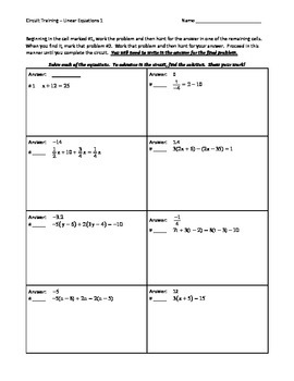 Circuit Training - Linear Equations 1