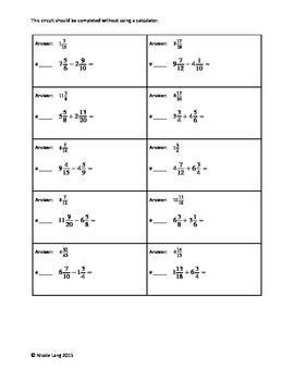 Circuit Training - Mixed Numbers Additon & Subtraction Review