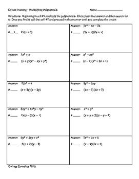 Circuit Training - Multiplying Polynomials (algebra)