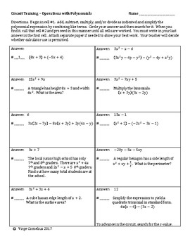 Circuit Training - Operations with Polynomials (algebra)