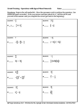 Circuit Training - Operations with Signed Mixed Numbers (middle school)