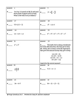 Circuit Training - Order of Operations (middle school)