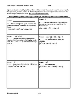 Circuit Training - Polynomial Functions (Graphs and Zeros)