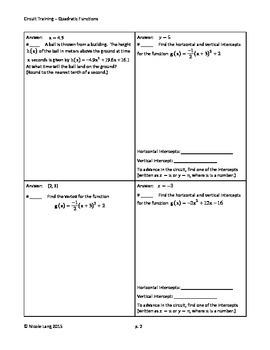 Circuit Training - Quadratic Functions