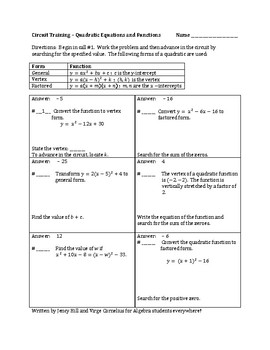 Circuit Training - Quadratic Functions and Equations (algebra)