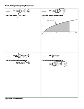 Circuit Training - Riemann Sum Writing and Interpretation EK 3.2A2