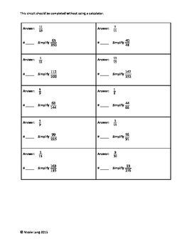 Circuit Training - Simplifying Fractions