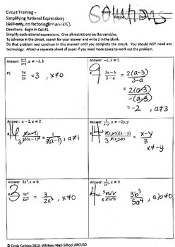 Circuit Training - Simplifying Rational Expressions I