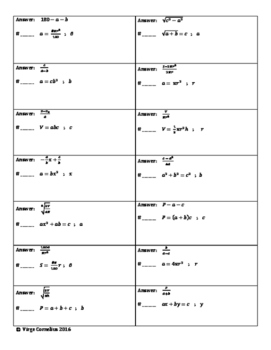 Circuit Training - Solving Literal Equations with Squares (algebra)