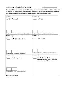 Circuit Training - Solving Quadratics by Factoring