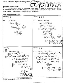 Circuit Training - Solving Trigonometric Equations II
