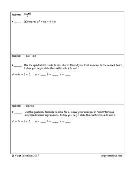 Circuit Training - The Quadratic Formula (algebra)