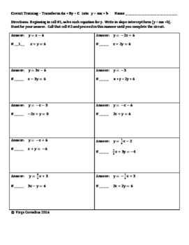 Circuit Training - Solve Ax+By=C for y   &   Working with Inequalities (algebra)