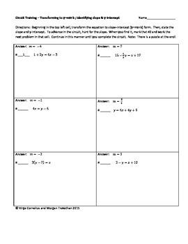Circuit Training - Transforming to y=mx+b (slope intercept form)