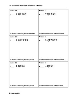 Circuit Training - Whole Number Long Division Review