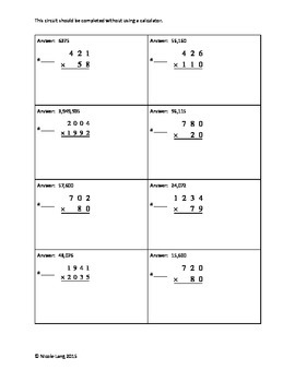 Circuit Training - Whole Number Multiplication Review