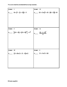 Circuit Training - Whole Number Order of Operations Review