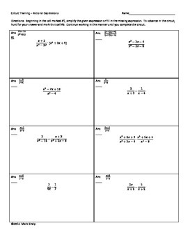 Circuit Training for Simplifying Rational Expressions; Alg