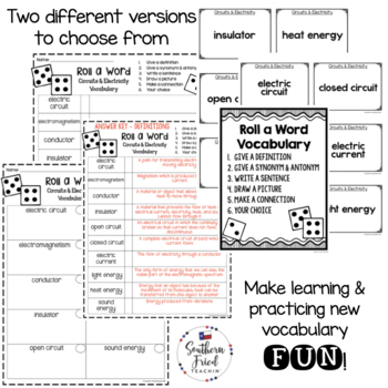 Circuits & Electricity Fun Interactive Vocabulary Dice Activity