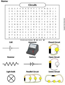 electricity and circuits worksheet word search by science spot tpt. Black Bedroom Furniture Sets. Home Design Ideas
