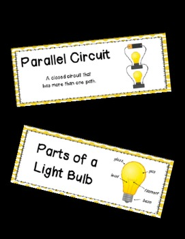 Circuits and Electricity: Science Vocabulary Word Wall