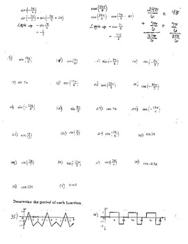 Circular Functions and Periodic Functions Trigonometric Function Exact Value