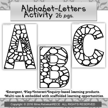 Circular Pattern Alphabet Activity Playdough Coloring Loose Parts Emergent