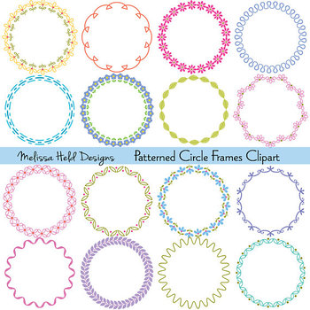 Clipart: Circle Patterned Frames Clip Art