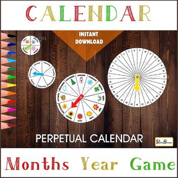 Circular Perpetual calendar for Smart board, 4 wheels, 4 spinners,  Printable