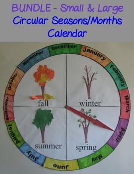 Circular Seasons and Months Chart/Calendar -BUNDLE  Large & Small