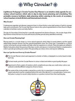 Circular Teacher Day Planner (Binder Printable)