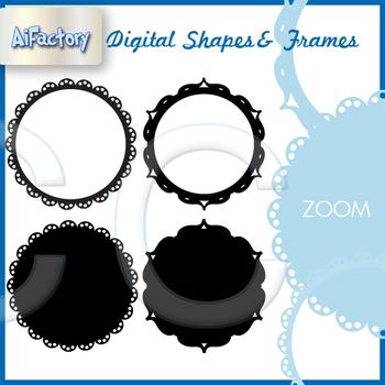 Circular shapes frames , fills borders clipart set