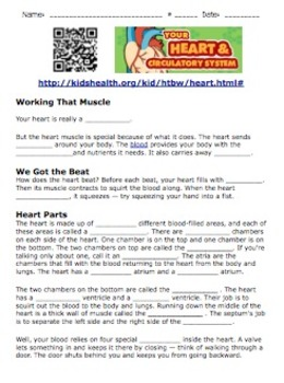 Circulatory System: QRCode Research Worksheet for Human Body Systems